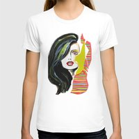 Fashion face woman portrait Womens Fitted Tee White SMALL