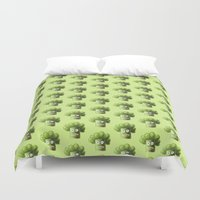 Green Funny Cartoon Broccoli  Duvet Cover