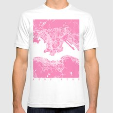 Hong Kong Map Pink Mens Fitted Tee White SMALL