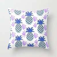 Blue Pineapple Throw Pillow
