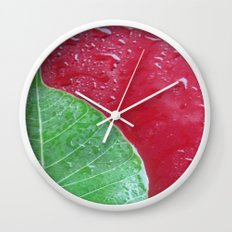 Leaf on red Wall Clock
