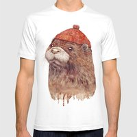 River Otter Mens Fitted Tee White SMALL