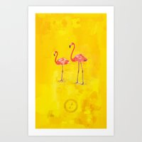 Flamants roses Art Print