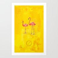 Flamants Roses Art Print
