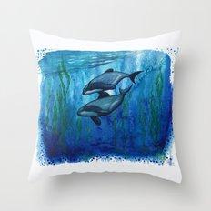 Maui's Dolphins ~ Waterc… Throw Pillow