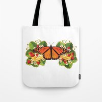 Monarch Butterfly with Strawberries Illustration Tote Bag