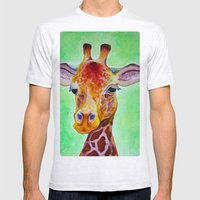Colorful Giraffe Mens Fitted Tee Ash Grey SMALL