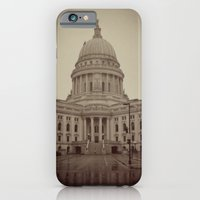 iPhone & iPod Case featuring Madison Wisconsin Capital Building Architecture Sepia Photography by ginaphoto