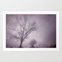 Three trees under the rain. Retro Art Print
