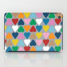 Up and Down Hearts on Grey iPad Case