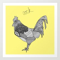 yellow cock square Art Print