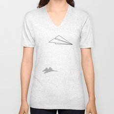 Paper Airplane Dreams Unisex V-Neck