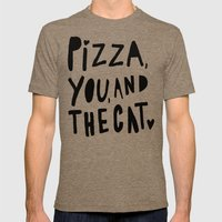 Pizza, You, and the cat - hand lettered art Mens Fitted Tee Tri-Coffee SMALL