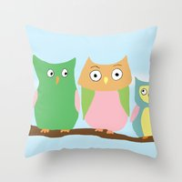Owl Family Portrait Throw Pillow