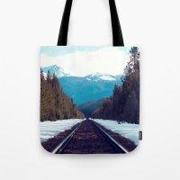 Train to Mountains Tote Bag