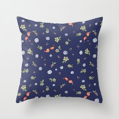 Floral with Birds on blue Throw Pillow