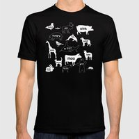 Animal Noises In Pink Mens Fitted Tee Black SMALL