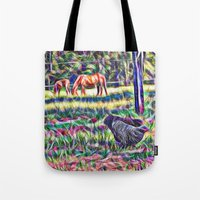 Horses And Hens In A Fie… Tote Bag
