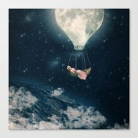 The Moon Carries Me Away Canvas Print