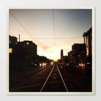 San Francisco Muni Njudah Sunset Silhouette  Canvas Print