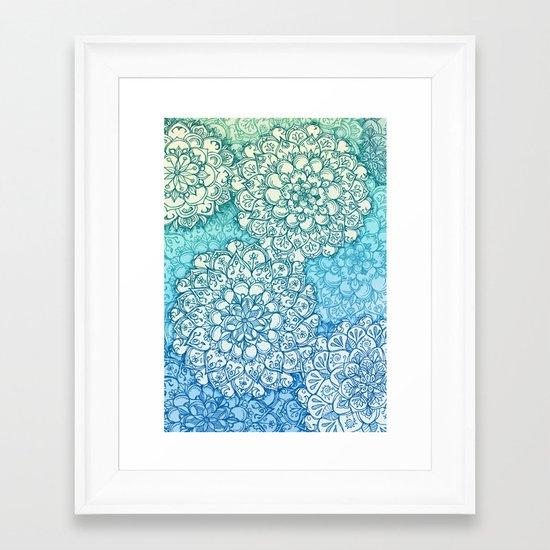 Blue Green Ballpoint Pen Doodle Poem Framed Art Print