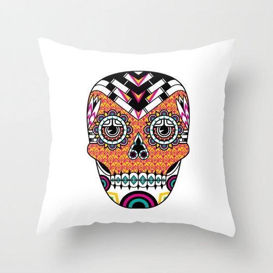 Deco Skull Throw Pillow
