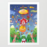 Santa has a Zeppelin to Deliver Christmas Gifts Art Print