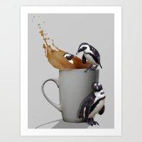 Penguin Tea Break! Art Print