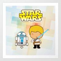 Luke Skywalker And R2D2 Art Print