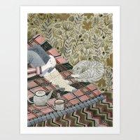 Autumn Picnic With My Ca… Art Print