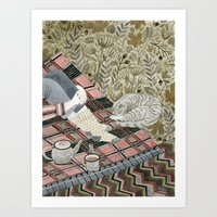 Autumn picnic with my cat Art Print