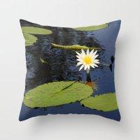 white lily flower Throw Pillow