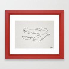gator skull white Framed Art Print