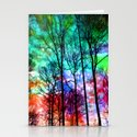 colorful abstract forest Stationery Cards