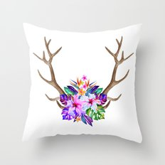 Floral Horn Throw Pillow