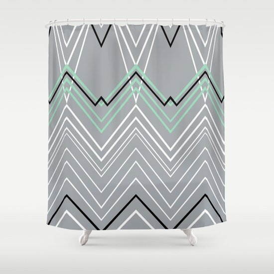 Mint Grey Chevy Shower Curtain By Project M Society6