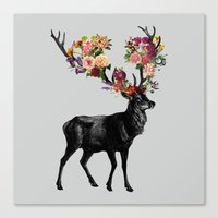 Spring Itself Deer Floral Canvas Print
