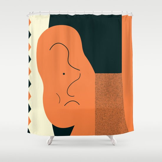 Angry talking makes the ear cranky Shower Curtain