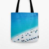 The beach. Blue sea mediterranean Greek beach. Summer seascape photography Tote Bag
