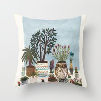 Potted Flowers I Throw Pillow