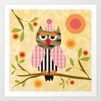 Patchwork Owl yellow Art Print
