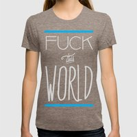The World Womens Fitted Tee Tri-Coffee SMALL
