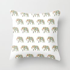 Elephlower Throw Pillow