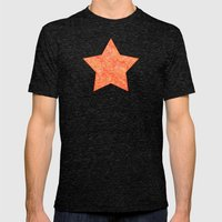 Red And Orange Doodles Mens Fitted Tee Tri-Black SMALL