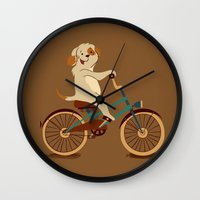 Puppy on the bike Wall Clock