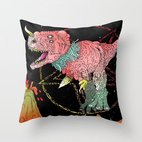 Necro-Dino From Planet Hell Throw Pillow
