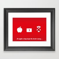 An apple a day keep the doctor away Framed Art Print