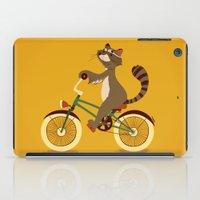 Raccoon on a bicycle iPad Case