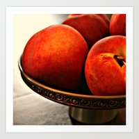 Peaches in Pewter Bowl Art Print