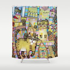 THE CITY OF 100 CATS Shower Curtain